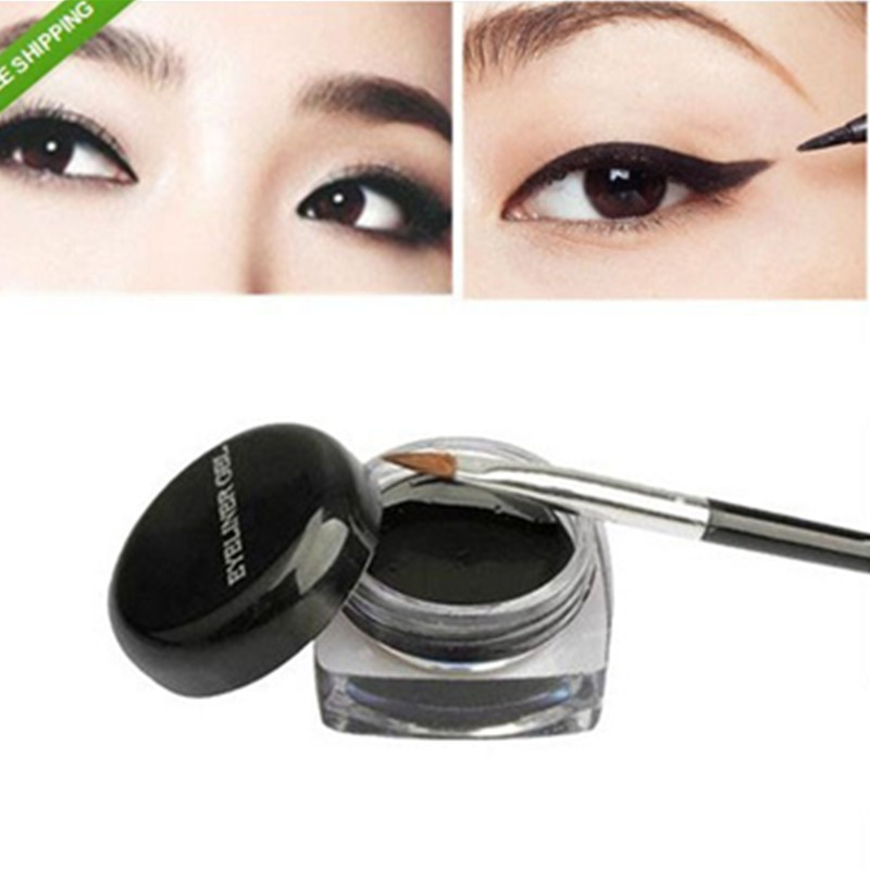 1Pcs Hot Sale Black Waterproof Eye Liner Eyeliner Gel Makeup Cosmetic + Brush Makeup Set(China (Mainland))