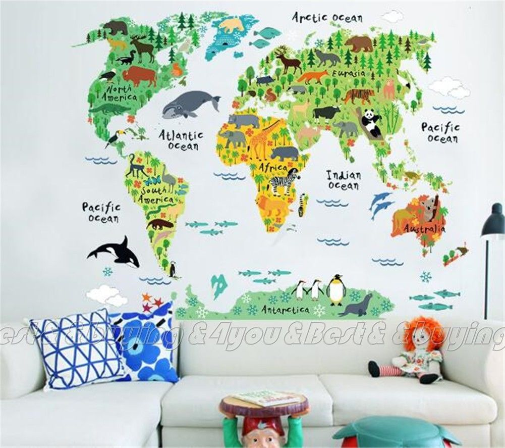 HOT Colorful World Map Wall Sticker Decal Vinyl Art Kids Room Office Home Decor Free Shipping (40309017)