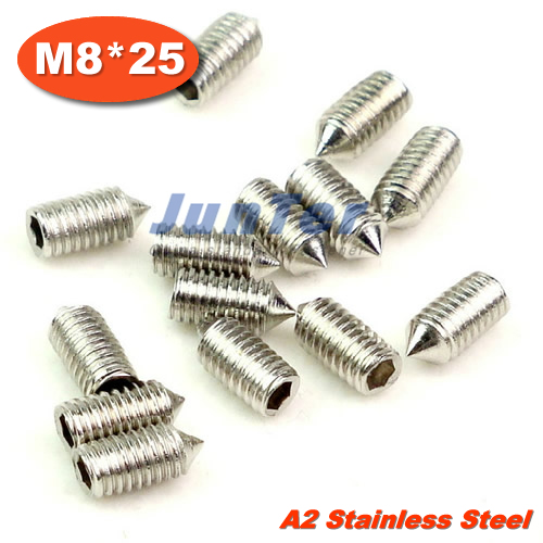 100pcs/lot DIN914 M8*25 Cone Point Grub Screws Stainless Steel<br><br>Aliexpress