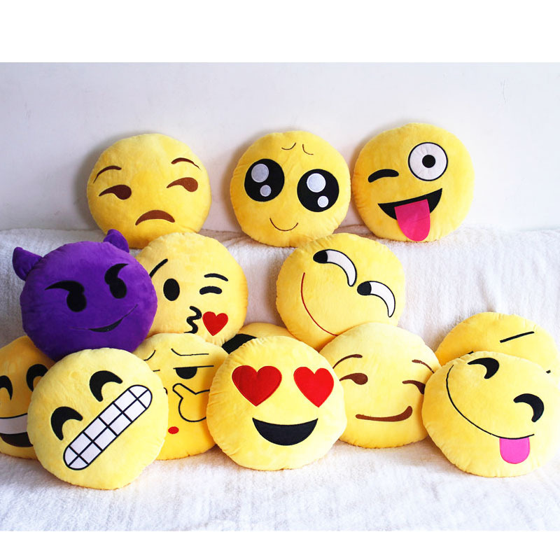 Free shipping Emoji Cushion Smiley Face Expression Round Cushion Kids Toy Pillow Stuffed Plush Soft Toys Home Decorative Bolster(China (Mainland))