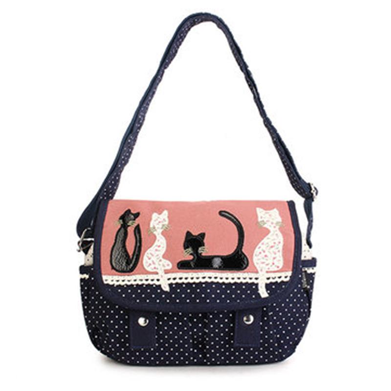 Women Fashion Trend Cute Cat Canvas Polka Dot Crossbody Bag Shoulder Bag Female Tote Bolsa bolso de las mujeres BETTER for you(China (Mainland))