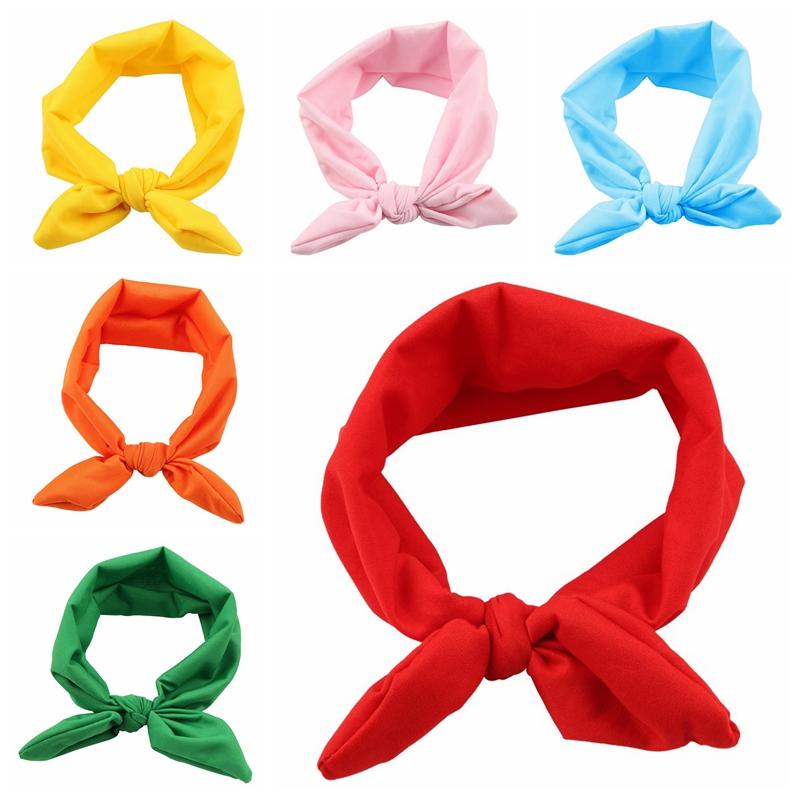 Fashion Baby Kids Girls Rabbit Ears Bow Hairband Headband Turban Knot bow Head Wraps Infant Girls Hair Accessories 10pcs HB305(China (Mainland))