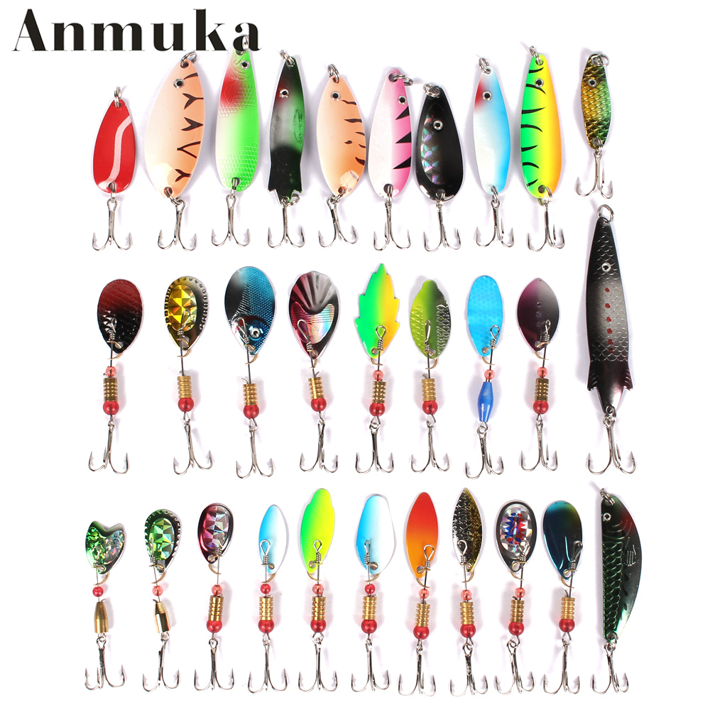 Anmuka Metal Lure 30PCS mix size/color Fishing Lure Spoon Metal Lures for Fishing hard bait Free Shipping(China (Mainland))