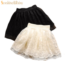 New 2015 Spring Summer Fashion Cute Lace Flower Teenagers Skirt Mini Princess Children Skirt Suit 12~20 Age Girls Tutu Skirt(China (Mainland))
