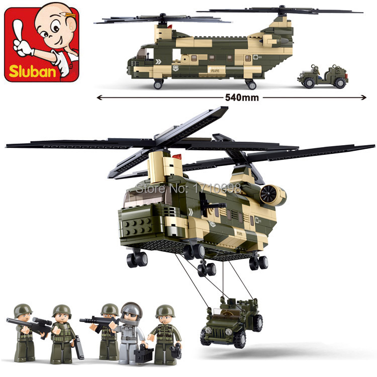 Toys Sluban M38-B0508 Military Transport Aircraft Freighter Helicopter Building block set KIDS Compatible Lego
