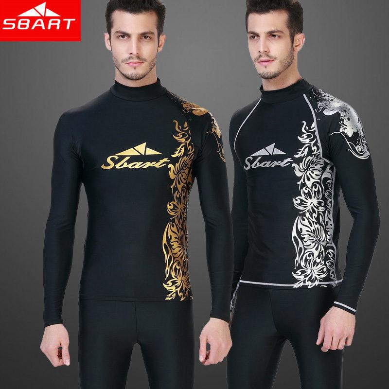 SBART Rashguard Men Long Sleeve Swimsuit For Surfing Upf50 Lycra Top Sunscreen Swim Shirts Man Swimming Shirt UV Plus Size 4XL H(China (Mainland))
