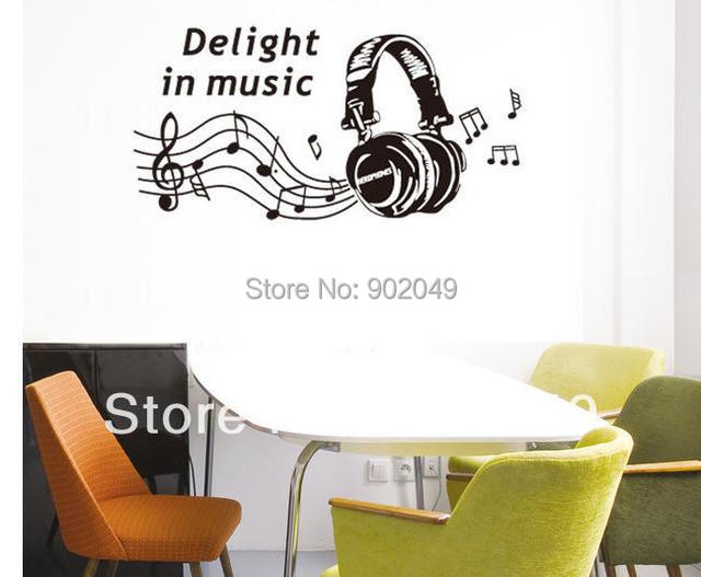 50x70cm Living Room TV Sofa Background Wall Sticker Music Room Decoration Fashion Headset KW- JM8265