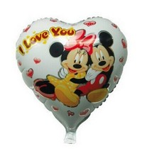 18inch heart Minnie mickey mouse balloons helium i love you foil balloons for baby shower , minnie mouse party supplies