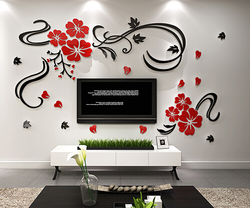 Free shipping 3D Flower vine acrylic crystal TV wall stickers Three-dimensional background wall sofa wall stickers(China (Mainland))