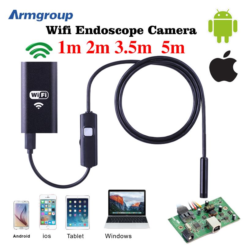 8mm Lens Wifi Android Iphone Endoscope Camera 1M 2M 3.5M 5M Waterproof Snake Tube Pipe Borescope 720P Iphone Camera Endoscope(China (Mainland))
