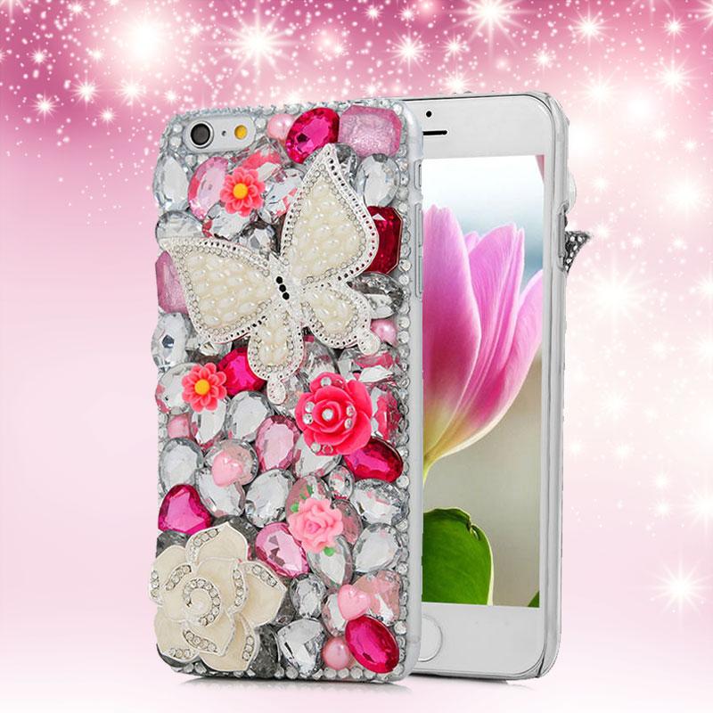 [Mavis's Diary] Pearl Butterfly Crystal Rhinestone Diamond Phone Case for iPhone 6/6s Plus/5 5S Samsung Galaxy S6/S5/Note 5/4/3(China (Mainland))