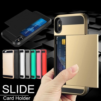 New Hybrid Tough Capa Case For iphone 5 5S SE 6 6S 7 8 Plus Slider Card Holder Wallet Armor Phone Back Cover for iphone X XS Max