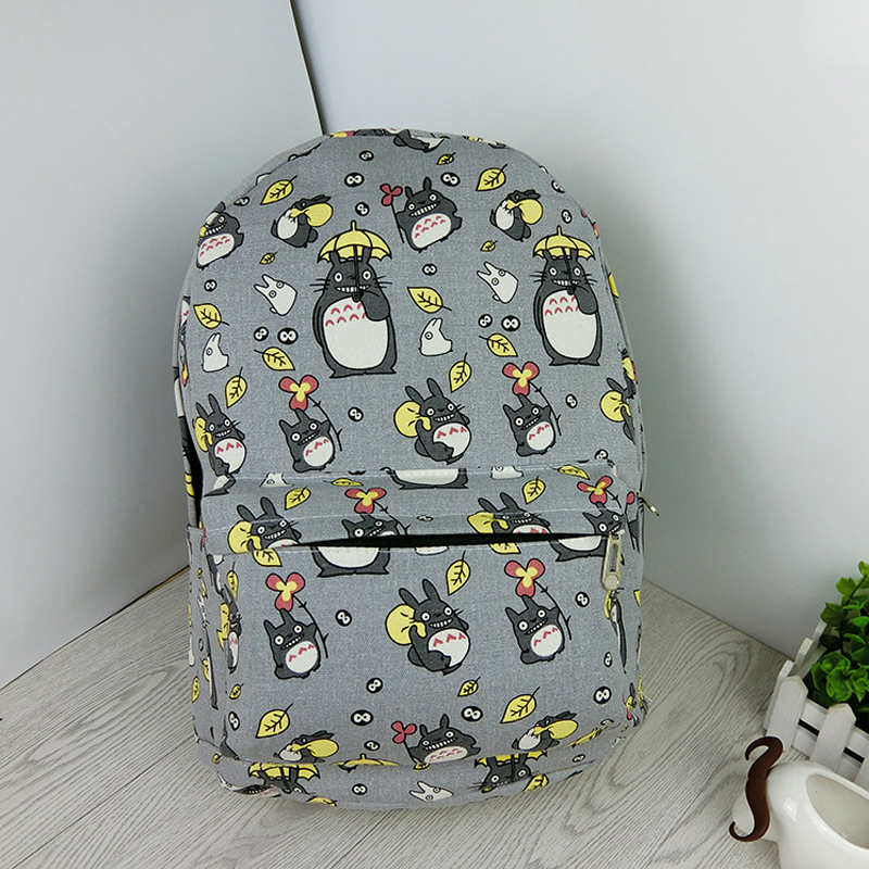 30cm Width Children's Full Printed Cartoon Canvas Backpack Kids Totoro Printing School Bags D(China (Mainland))