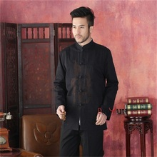 Discount Black Male 100% Cotton Overcoat Chinese Style Embroidery Jacket Martial Arts Costume SML XL XXL XXXL(China (Mainland))
