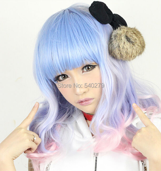 Hot Selling Long Curly Ombre Wig Pastel Pink Blue Multi-Color Beautiful Lolita Anime Synthetic Hair Costume Cosplay Wigs - HD online Store store