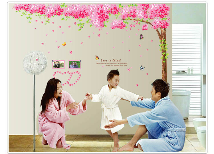 oversize 260x230cm 3pcs/set Romantic cherry tree wall stickers living room warm decor home decor diy wallpaper mural art decal