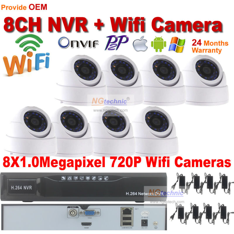 Free shipping! 8ch Security system Kit 1.0mp dome ir night vision Wireless IP Camera + 8CH Onvif P2P Network camera recoder NVR(China (Mainland))