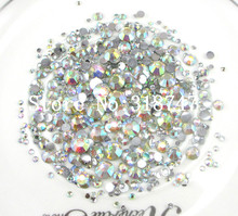 20g/lot approx 1300pcs AB Clear Mixed Sizes Flatback Non-Hotfix Resin Rhinestones DIY Mobile Phone Nail Art Craft 007008011(China (Mainland))