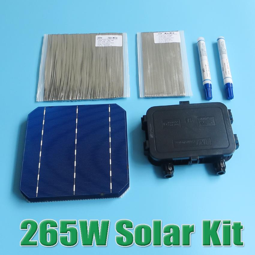 hot sale 265W DIY Solar Panel Kit 6x6 156 Monocrystalline Mono solar cell tab wire Bus wire Flux pen Junction Box(China (Mainland))