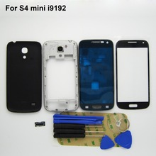 Full Housing Case Frame Chassis Back Cover Replacement For Galaxy S4 mini i9192 +Front Screen Glass + button + Repair Tool Kits(China (Mainland))
