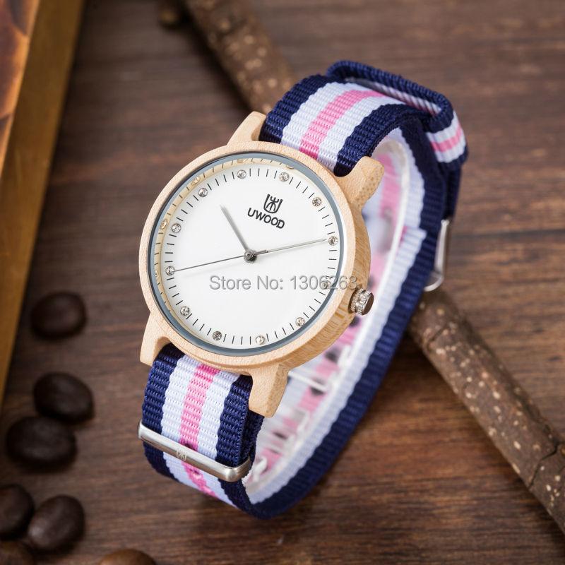 2016 привлекательный топ бренд женщин деревянные часы Кварцевые движение красного сандалового дерева нато нейлон ремешок моды платье древесины смотреть