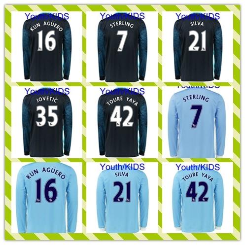 New Product 2015-2016 Youth Kids City Long Sleeve #7 Sterling 16# Kun Aguero Silva Home Away Blue soccer Jersey Shirt(China (Mainland))
