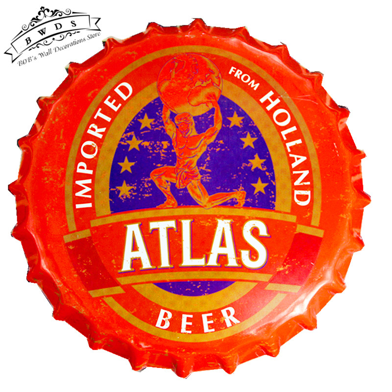 "Round Tin Signs ""ATLAS"" Creative Iron Beer Bottle Cap Bar Signs With Striking, Home Decor, Man Cave <35cm,RM-28>(China (Mainland))"