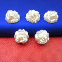Buy New Arrival 50Pcs/lot 13mm Imitation Pearls Half Round Flatback Rose Design Beads Wedding Cards Embellishments DIY Decoration for $1.27 in AliExpress store