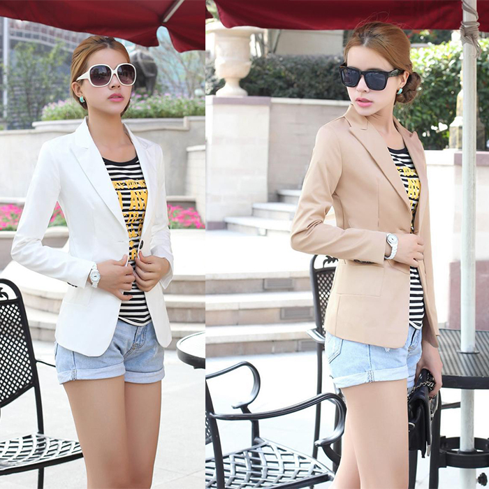 Fashion Jacket Women Suit Foldable Long Sleeves Lapel Coat Lined With Striped Single Button Vogue Jackets Plus Size Blazer Women(China (Mainland))