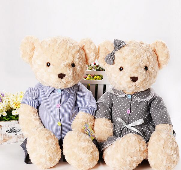 Free shipping 2PCS lovely Couple Teddy Bears Stuffed Plush Toys Valentine Teddy Bear Soft Kids Toy for Children Gifts(China (Mainland))