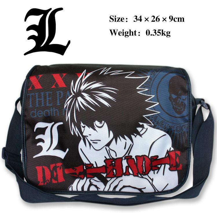Death Note L Shoulder Bag Anime Satchel Bag Teenager School Bag Messenger Bag(China (Mainland))