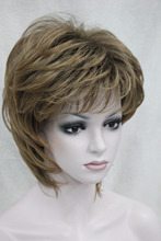 Free shipping New elegant yellow blonde mix auburn short straight ladies's synthetic wig