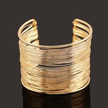 DIEZI Bijoux צועני אופנה זהב כסף פאנק היפ הופ שרוול רחב גברים צמידי זרוע צמיד לנשים תכשיטי צמידי & צמידים(China)
