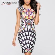 Kaige.Nina New Summer None Print Sleeveless Sheath O-Neck Natural Knee-Length Dress Sexy Casual 2249(China (Mainland))