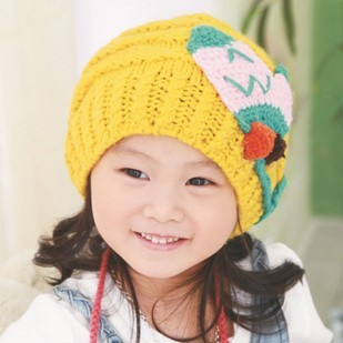 Child knitted hat baby hat autumn and winter knitted hat winter ear protector cap winter female child beanie  retail baby hat