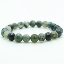 Aquatic agate bracelet fashion hot sales 6MM semi precious stone round beads stretch jewelry bangle men girl women free shipping(China (Mainland))