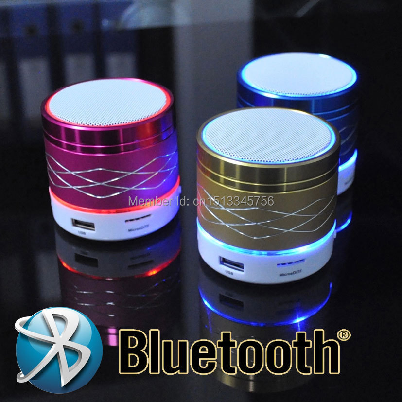 2015 New arrival Portable Mini bluetooth speakers Metal steel wireless smart hands free LED speakers Support