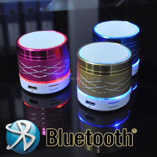 2015 New arrival Portable Mini bluetooth speakers Metal steel wireless smart hands free LED speakers Support sd card For iPhone