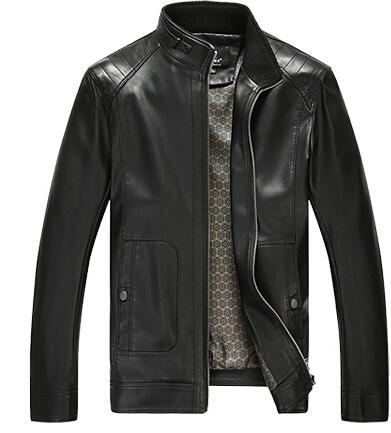 2015 весной и осенью мужские стенд овчины кожаная куртка мужской мода осень и зима кожаное пальто Большой размер 3XL