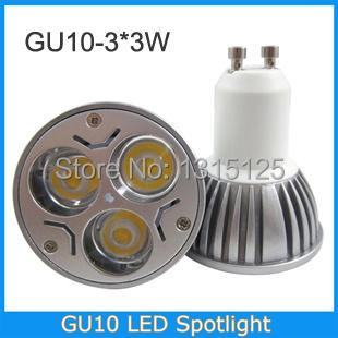 10pcs/lot GU10 High power led spotlight Bulb Lamp 9w Warm white/cold white AC85-265V Free Shipping(China (Mainland))