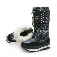 2019 Winter laarzen Hoge Vrouwen Snowboots pluche Warme schoenen Plus size 35 om grote 42 gemakkelijk slijtage meisje wit zip schoenen vrouwelijke hot laarzen(China)