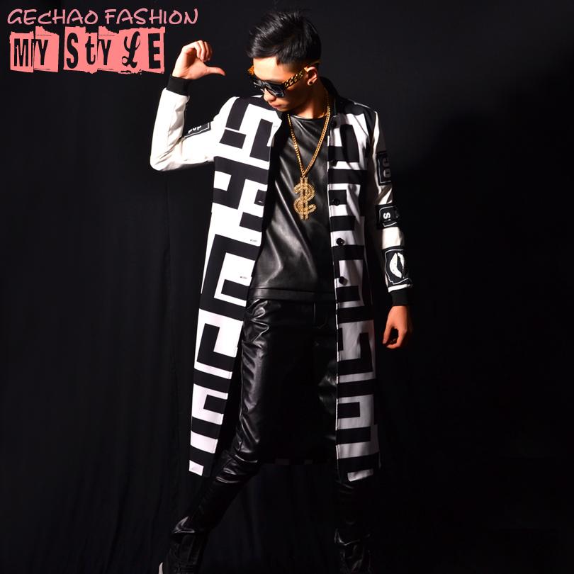 2016 new white black block long jacket coats men  party prom dancer singer performance show clothing outdoors Slim wearОдежда и ак�е��уары<br><br><br>Aliexpress