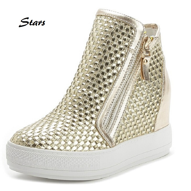 New Spring Thick Bottom Side Zipper Wedges Heel Shoes For Lady Sequins Woven Pattern Womens Casual Shoes Fashion Gold Sliver <br><br>Aliexpress