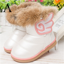aercourm A Girls Winter Shoes Baby Boots 2016 New Rabbit Fur Boots Baby Leather Shoes Snow Kids Boots Colorful Girls Warm Shoes(China (Mainland))