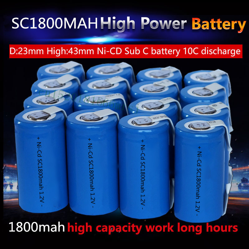 15PCS/lot New Sub C SC 1.2V 1800mAh Ni-Cd Rechargeable batteries Electric tools/electric drill screw welding Free Shipping(China (Mainland))