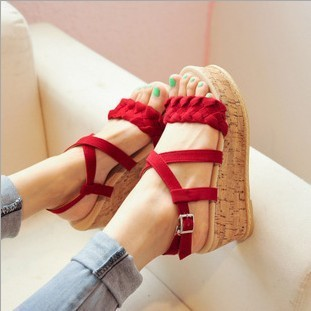 Free shipping 2013 recommended summer new Japanese braided cross straps the cannabis a small heavy-bottomed wedge sandals