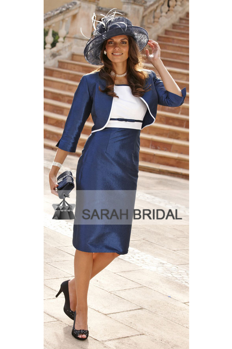 Elegant short navy blue mother of the bride dresses with for Dress and jacket outfits for weddings