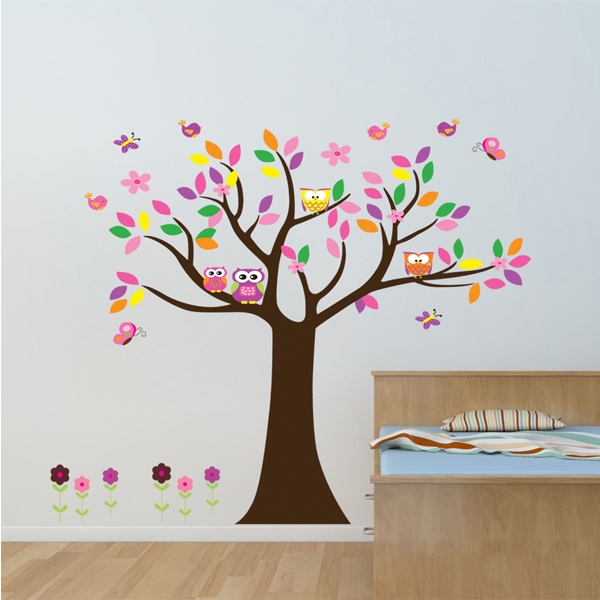 Animal Owl Tree Wall Decal Kids Wall Decorative Sticker Nursery Art Home Decoration Decals Removable Room Decor DIY Poster Vinyl(China (Mainland))