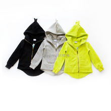 2014 autumn 3 colors!~ Hitz boys and girls top quality zip hooded cute sweater coat free shipping 6 pieces/lot(China (Mainland))