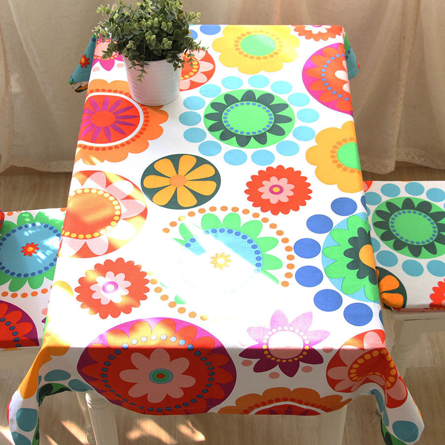 Pastoral style colorful secnic flowers rectangle round home linen table cloth hot sale(China (Mainland))